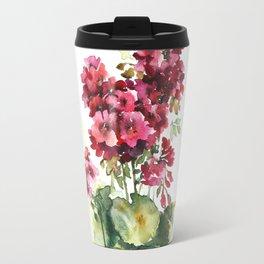 Watercolor geranium flowers Travel Mug