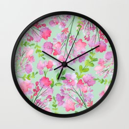 Watercolour Spring Flowers IV Wall Clock