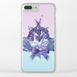 romantic swan couple Clear iPhone Case
