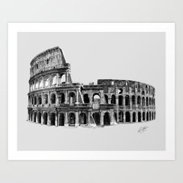 Colosseum Drawing Art Print