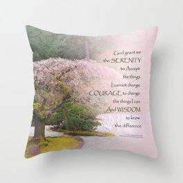 Serenity Prayer Cherry Tree One Throw Pillow