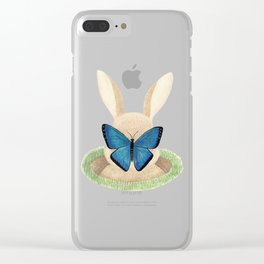 Butterfly resting on a bunny's nose Clear iPhone Case