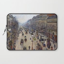 """Camille Pissarro """"Boulevard Montmartre, morning, cloudy weather"""" Laptop Sleeve"""