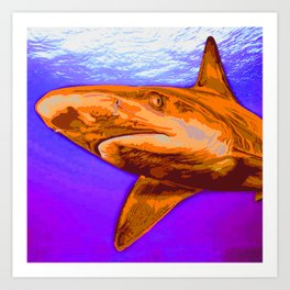 Painted Shark, Orange Art Print