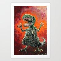 t rex Art Prints featuring T Rex by Zombbit