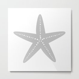 Starfish (Gray & White) Metal Print