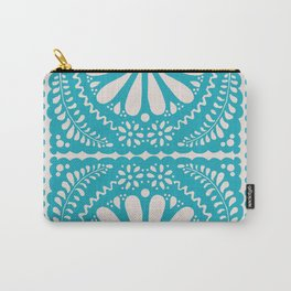 Fiesta de Flores Turquoise Carry-All Pouch