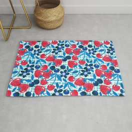 Paper Picnic Berry Collage in Red, White and Blue Rug