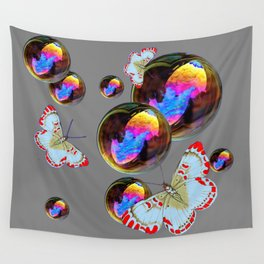 SURREAL WHITE-RED BUTTERFLIES & BUBBLES Wall Tapestry