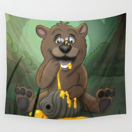 Baby Bear in the Honey Pot Wall Tapestry