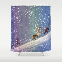 frozen Shower Curtains featuring Frozen by David Pavon