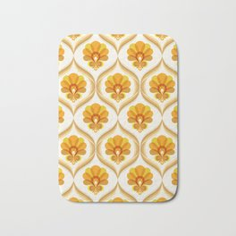 Ivory, Orange, Yellow and Brown Floral Retro Vintage Pattern Bath Mat