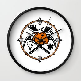 Angry Moose Crossed Ice Pick Axe Pararescue Mascot Wall Clock