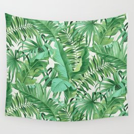 Green tropical leaves III Wall Tapestry