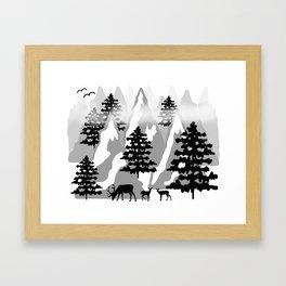 Woodland Rustic Deer Winter Mountain Forest Trees Framed Art Print