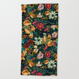 Floral Pattern Winter Garden Beach Towel