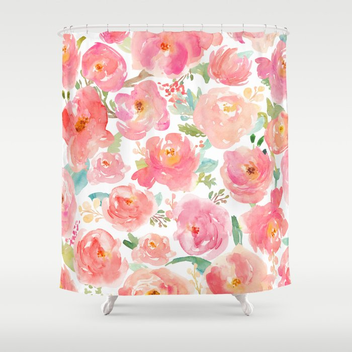 Pink Peonies Watercolor Pattern Shower Curtain
