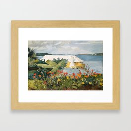 Flower Garden and Bungalow, Bermuda Framed Art Print