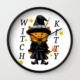 Witch Kitty Wall Clock