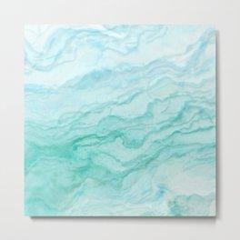 Ocean Blue Marble Texture Metal Print