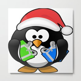 Penguin with Gifts Metal Print