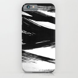 Gestural Abstract Black and White Brush Strokes iPhone Case