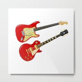 Red Elecric Guitars Metal Print