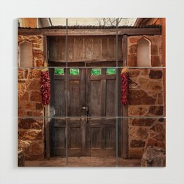 Doorway and Ristras in Lincoln, NM. Wood Wall Art