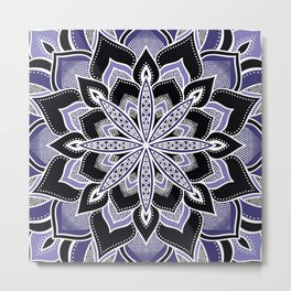 Purplish Blue  Black Flower Mandala Metal Print