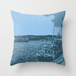 Abstract illustration Sea and Ship Throw Pillow