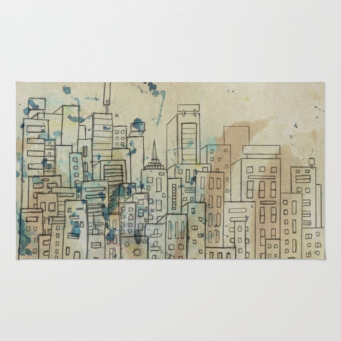 Sketch of buildings in a city that doesn't exist Rug