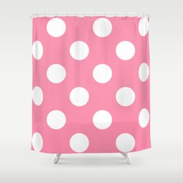 Large Polka Dots - White on Flamingo Pink Shower Curtain