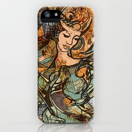 Warrior woman - inspired by Art Nouveau style iPhone Case