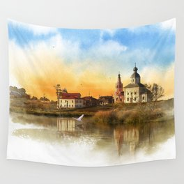 The Church of Elijah the prophet on mount Ivan in Suzdal. Evening landscape. The Golden Ring Of Russ Wall Tapestry