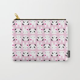 Super Cute Kawaii Bunny and Panda (Pink) Carry-All Pouch