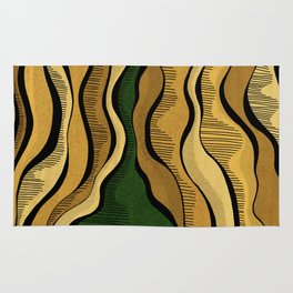 Golden Waves with Interrupting Green Rug