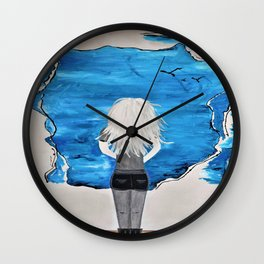 Blue Sky and the Future Painting by Jodi Tomer. Blonde Girl Portrait Wall Clock