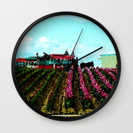 Mule Rides Through The Tulips Wall Clock