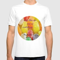 Eat like no one is watching . . .  Maybe that was dance. Mens Fitted Tee MEDIUM White