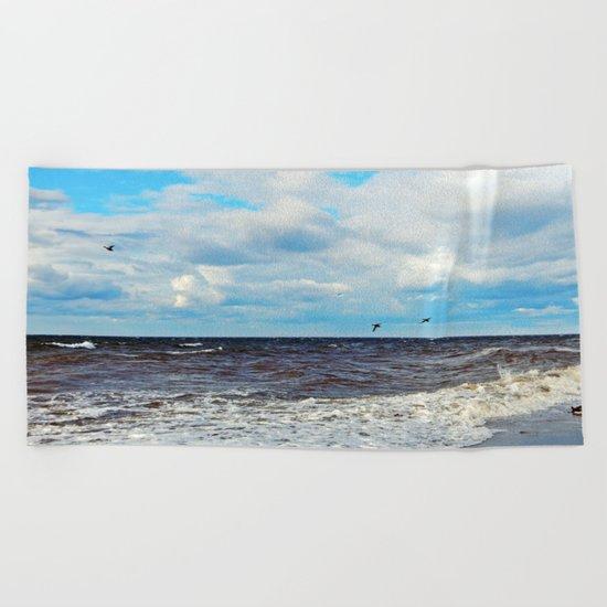 Flying Cormorants Beach Towel
