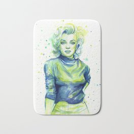 Marilyn Portrait Watercolor Painting Actress Old Hollywood Bath Mat