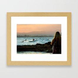 Surf girl Byron bay ausralia Framed Art Print