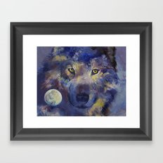 Grey Wolf Moon Framed Art Print
