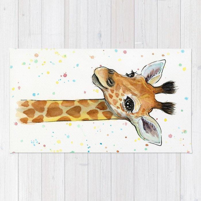 Baby Giraffe Nursery Print Watercolor Animal Portrait Hearts Rug