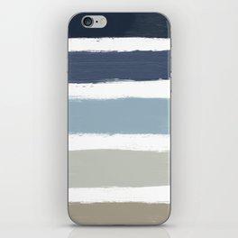 Blue & Taupe Stripes iPhone Skin