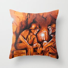 Cigarettes may kill you (orange miners on explosives) Throw Pillow