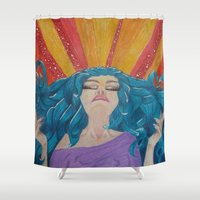 girl power Shower Curtains featuring Power by Crzy_Nevaeh_Art