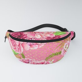 Pink & Gold Vintage Floral Pattern Fanny Pack