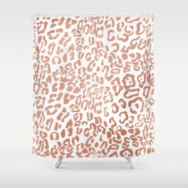 Modern Hipster Girly Faux Rose Gold Foil Leopard Animal Print Shower Curtain