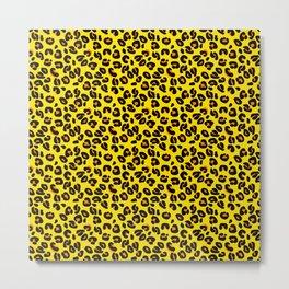 Lemon Yellow Leopard Spots Animal Print Pattern Metal Print